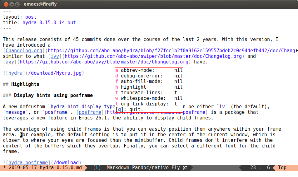 hydra 0 15 0 is out · (or emacs
