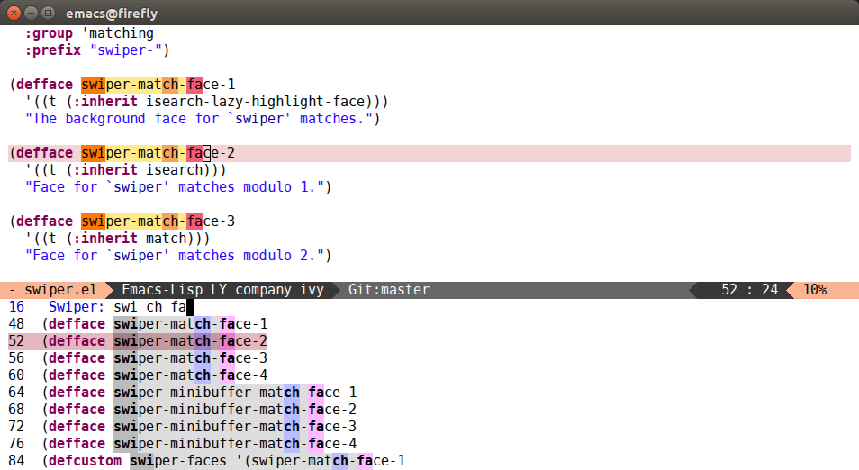 Fancy minibuffer faces for Ivy completion · (or emacs